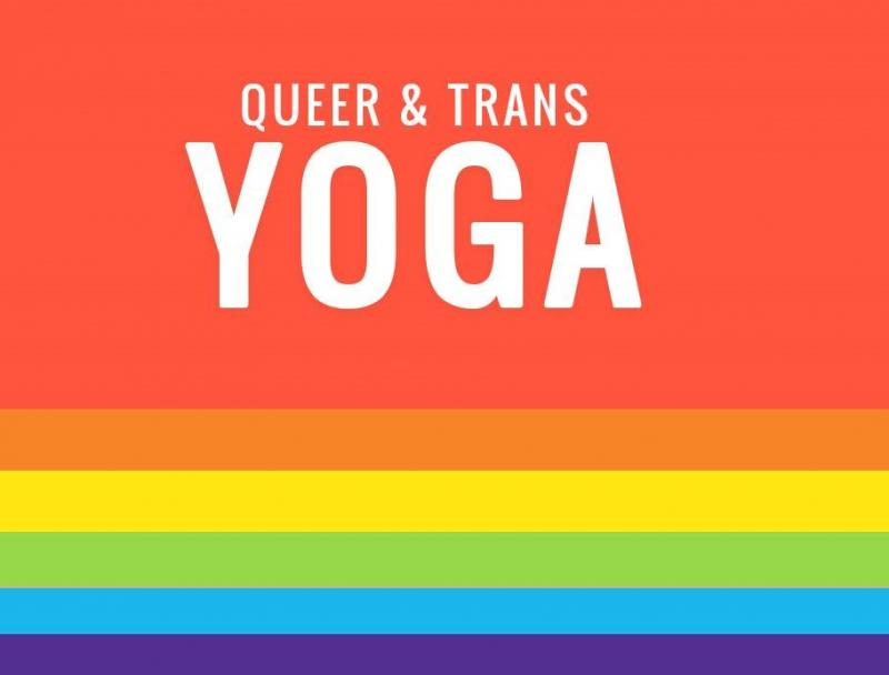 Queer & Trans Yoga printed over a Pride rainbow.